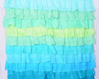 Items similar to Ruffle Shower Curtain Panel, Mint Green, for ...