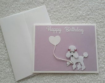 White poodle with Heart shaped Balloon Happy Birthday Blank inside 3D greeting card - Adult or child Happy Birthday - Homemade greeting card