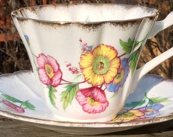 Pretty in Pink Gladstone Teacup and Saucer