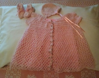 Pink cotton crocheted baby dress