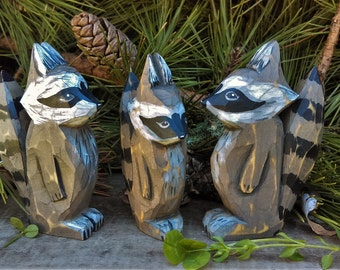 Raccoon Wood Carved Forest Animal Set (Raccoon Family)
