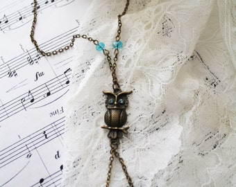 Necklace owl necklace antique bronze, chain owl, jewelry, boho style, charm