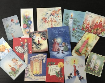 BB56 -- Lot of 15 Vintage CHRISTMAS CANDLES Greeting Card Die Cuts for Card Making Free Shipping