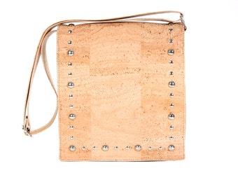 Handbag made of Cork, shoulder bag with flap