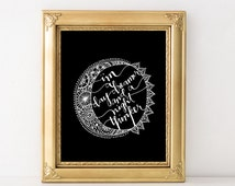 i'm a day dreamer and a night thinker quote printable sun and moon black and white digital print