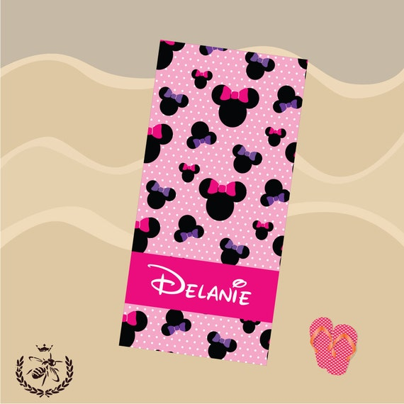 Personalized Beach Towel Minnie Mouse Towel Monogram Towel