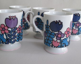 Vintage Mod Purple Flower Pedestal Cups Set Of 5