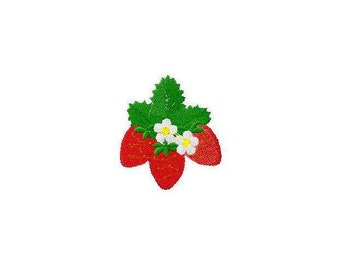 Machine embroidery design strawberry strawberries with flowers