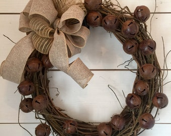 Rustic bell wreath, Christmas wreath, rustic Christmas, burlap, farmhouse wreath, vintage Christmas decor, Christmas decor, french country