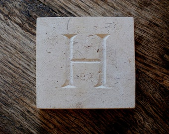 Letter 'H' Hand Carved In Beautiful White Portland Stone Standing Stone Fossil Tablet Everlasting Wedding Christening Gift Personalised Art