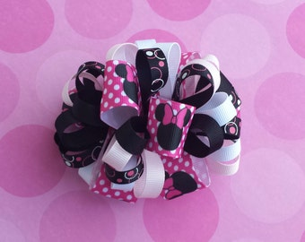 Girls 4 inch Minnie Mouse loopy bow