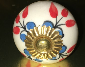 Vintage inspired hand painted floral ceramic knob K-108