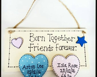 Personalised wooden twins baby plaque. New baby gift/ keepsake