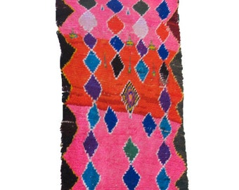Multicolored Vintage Boucherouite Rug