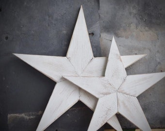 Farmhouse Rustic White Wooden Star Distressed Wall Decor Large