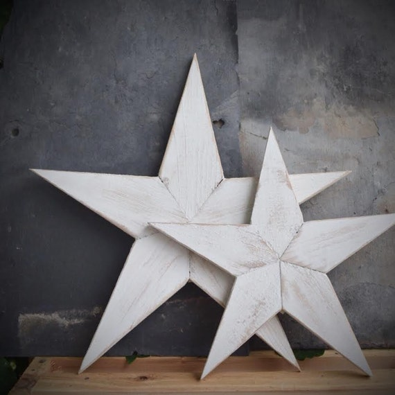 White Star Wall Decor : Farmhouse rustic white wooden star distressed wall decor large