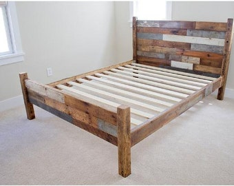Reclaimed Wood Bed Frame w/ Head/Foot board