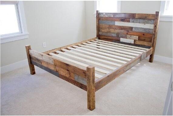 Cadre de lit bois récupéré w  têtepied planche