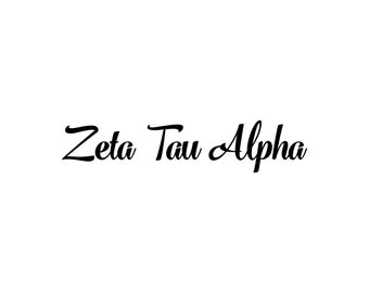 Zeta Tau Alpha decal vinyl window bumper Sorority greek letters laptop sticker available in 10 different sizes and 30 different colors