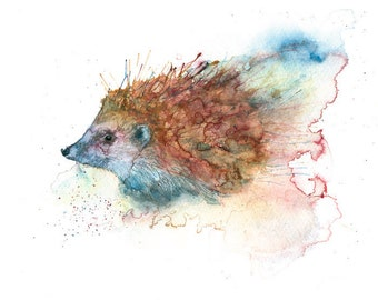 Hedgehog water colour print original hedgehog watercolour print hedgehog wall art animal wildlife painting print digital hedgehog art print