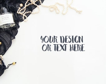 Black Lace with Spirits and a String of Pearls on a White Desktop #3 / Stock Photography / Product Mockup / High Res File