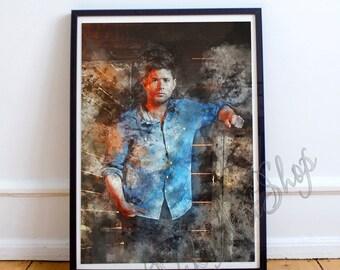 Dean Winchester Art Poster, Dean - Supernatural Watercolor Art Print, Jensen Ackles - poster, Supernatural Print, Dean Winchester Print
