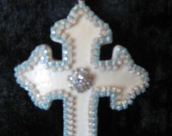 ostrich shell cross necklace