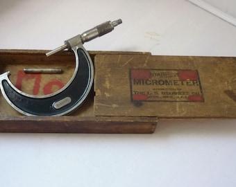 Vintage Starrett Micrometer No 226M 50mm-75mm with Batchet original Box & Lable