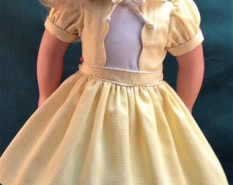 Yellow Gingham Dress, Slip. Shoes and Headband