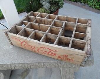 Vintage Coca Cola Wooden Bottle Crate, Display Shelf, Farmhouse Decor, Rustic Kitchen, Old Wood Box, Living Room Decor, Vintage Farmhouse