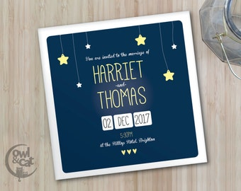 Wedding invitations - Star design - 50 invites with envelopes - custom colours available
