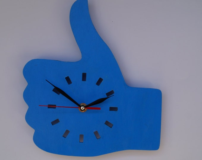 Wooden Like wall clock- Blue unique wall decor clock - Hand wall clock - Minimalist wall clock - Acrylic wall clock
