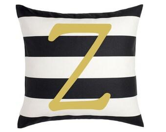 Letter Pillow Cover - Alphabet Pillow - College Dorm Decor - Z Pillow - Black Pillow - Home Decor - Throw Pillow - Dorm Room Decor