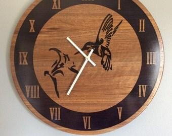 Walnut & Blue Resin Hummingbird Carved Large Wall Clock