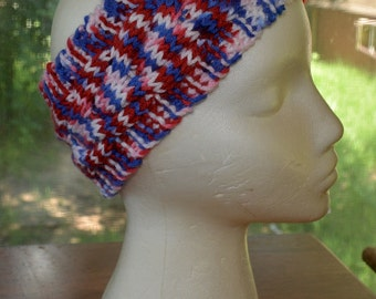 Hand Knit cable headband in red, white, and blue