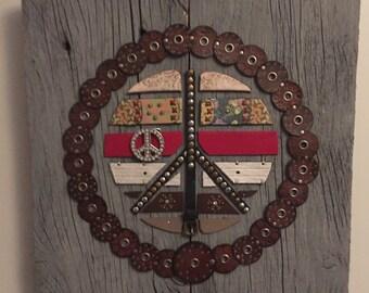 Repurposed Belt Wall Art-Peace themed
