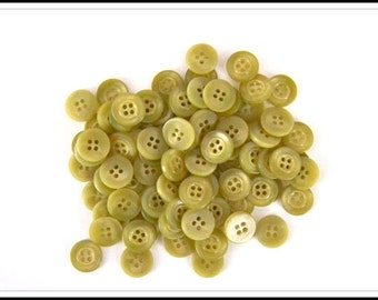 Vintage Buttons - (10) Sage Light Green Plastic Buttons - Sewing & Crafts