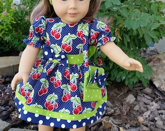 Cherry Blossom Doll Dress for 18 inch doll, American Girl Doll, Bitty Twin and Bitty Baby