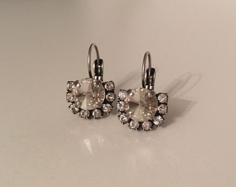 Silver Shade Swarovski Crystal Drop Fan Earrings