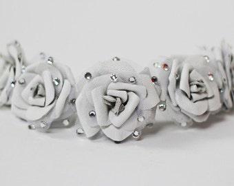 White Leather Flower Crown with Swarovski Crystals (Medium)