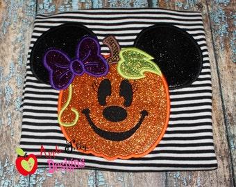 Ms Mouse Pumpkin Applique Design