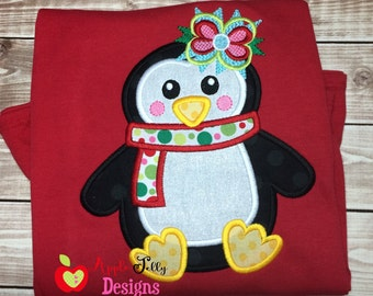 Pretty Penguin Girl Applique Design