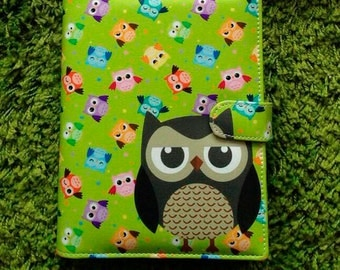 Green Planner a5 size 6 ring with owl
