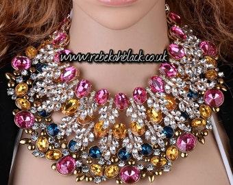 Beautiful Multicolour Rhinestone Statement Necklace