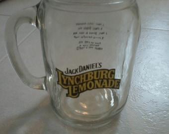 Vintage Jack Daniels Whiskey Lynchburg Lemonade Glass Mug Handled Mason Jar Rare