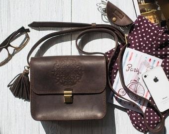 Leather crossbody bag, leather bag purse, messenger bag