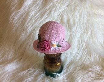 Pink  Newborn Baby Cloche Heirloom Hat with Flowers