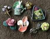 Spring Summer Flower Garden Theme Pin Brooches