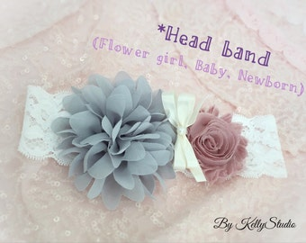 Gray and Pink headband, Infant headband, Flower girl headband, Chiffon flower headband, Girl headband, Newborn headband, Wedding headband