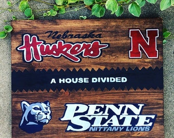 House Divided -Sports Team -Painted Wooden Sign